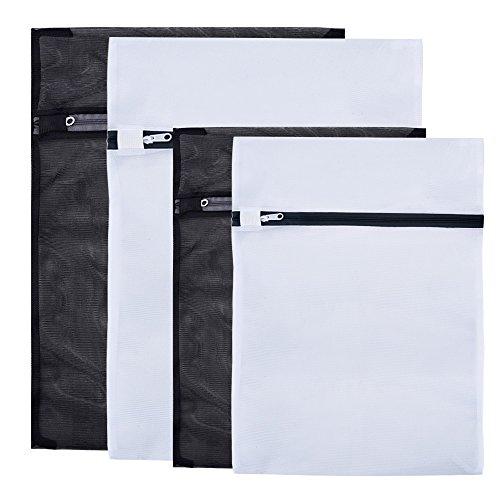 Mudderランドリー洗濯バッグ、洗濯ネット 四つのセット(黒、白)