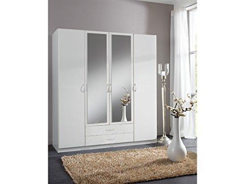 SWING-Kleiderschrank-3-trig-mit-Spiegel-180-cm-4-trig-weiss