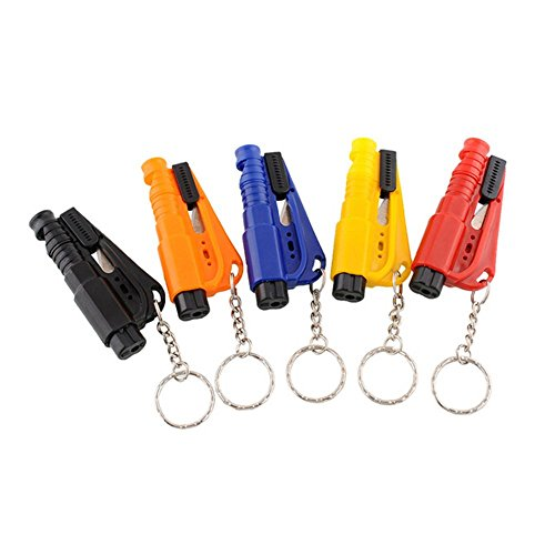 ESTD 3 in 1 Multi-function Great Keychain Car Emergency Hammer Rescue Safety Glass Breaker Seat Belt Cutter(Color: Send by Random) (Seatbelt Cutter Key compare prices)