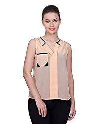 Glam Dollz Women's Poly Georgette Regular Fit Top (Small,Beige)