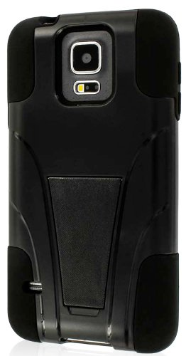 Mylife (Tm) Deep Night Black - Neo Hybrid Series (Built In Kickstand) 2 Piece + 2 Layer Case For New Galaxy S5 (5G) Smartphone By Samsung (External Hard Fit Armor With Built In Kick Stand + Internal Soft Silicone Rubberized Flex Gel Bumper Guard)