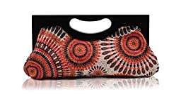 Scarleton Wood Framed Embroidered Clutch H300109 - Orange