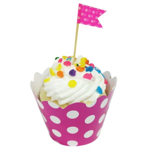 Wrapables Standard Size Polka Dots Cupcake Wrappers (Set Of 60), Hot Pink front-132897