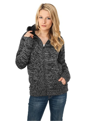 Urban Classics Ladies Winter Knit Zip Hoody Felpa jogging donna nero/grigio XL