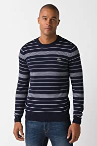 Fine Stripe Crewneck Jersey Sweater