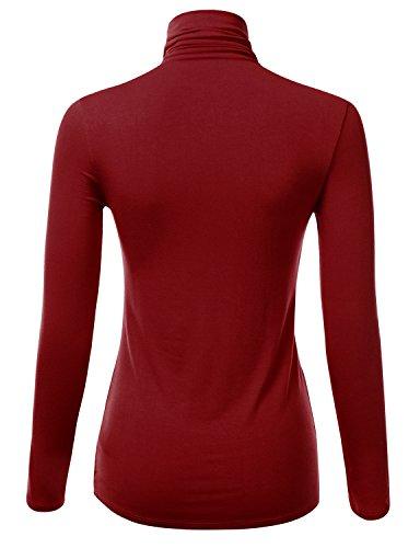J tomson women 39 s basic slim fit long sleeve turtleneck t for Burgundy long sleeve t shirt womens