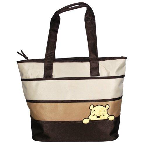 Disney Peeking Pooh Color Block Tote Diaper Bag, Beige/Brown, Large - 1