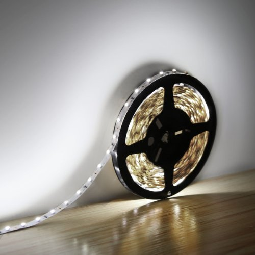 Le Lampux 12V Flexible Led Strip Lights, Led Tape, Daylight White, 300 Units 3528 Leds, Non-Waterproof, Light Strips, Length 5M