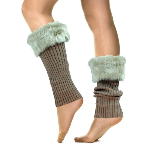 Basico Women Lady Faux Fur Knit Leg Warmer Stirrup Warmer -3341 (Beige) Appar...