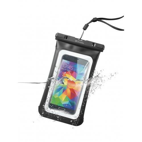 Cellularline 防水ケース スマホ カメラ iPhone6 Plus 海 プール お風呂 IPX8 ブラック NEW VOYAGER便利なミニ財布付