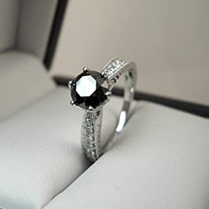 Click to buy 14K White Gold Engagement Band Round Black with Round Accents Diamond Ring from Amazon!