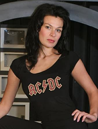 ac dc cap sleeve shirt damen strass applikation acdc. Black Bedroom Furniture Sets. Home Design Ideas