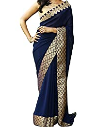Koroshni Sarees For Women Embroidered Half And Half Georgette Saree With Blouse Material For Party Wear,Wedding...