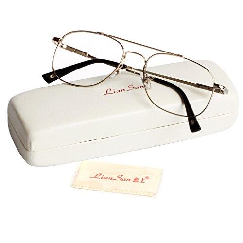 Liansan Brand Designer High Quality Retro Vintage Bifocal Reading Glasses Mens Eyeglasses L3695T(silver,+2.50) 0