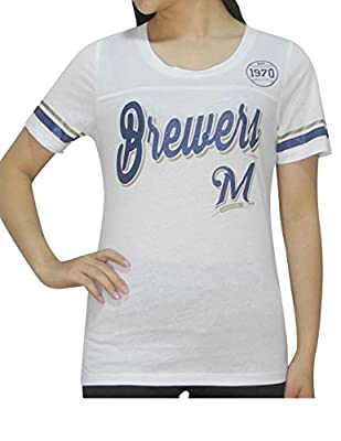 MILWAUKEE BREWERS Womens MLB Short Sleeve Glitter T-Shirt