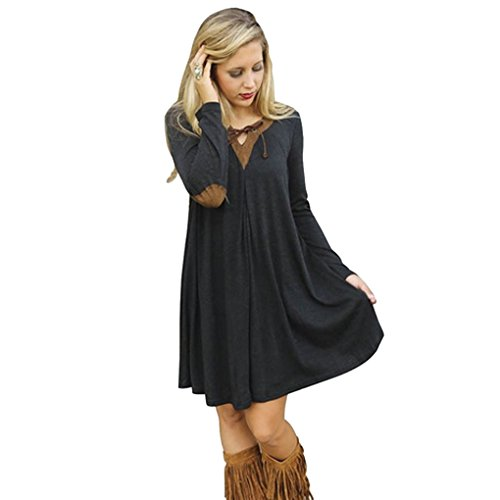Hqclothingbox Women Contrast Color Splice Lace Up Loose Tunic Dress (Lil Roughneck compare prices)