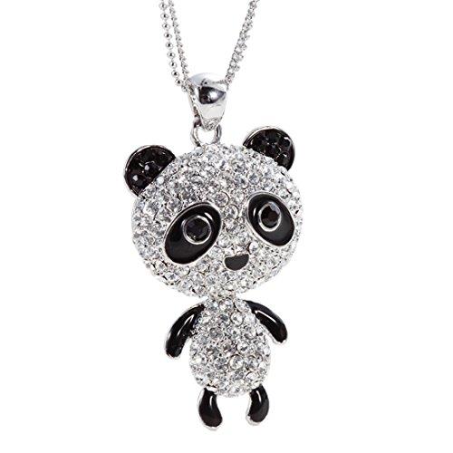 Neogloy-Fashion-Collar-Largo-Colgante-de-Panda-Mascota-Animal-Esmalte-Negro-Brillantes-Rhinestones-Checos-Joya-Original-Regalos-Navidad-Cumpleaos-para-Nias-Chicas