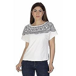 Gudi Women's Cotton Top_G5102WHITE-M_White_M
