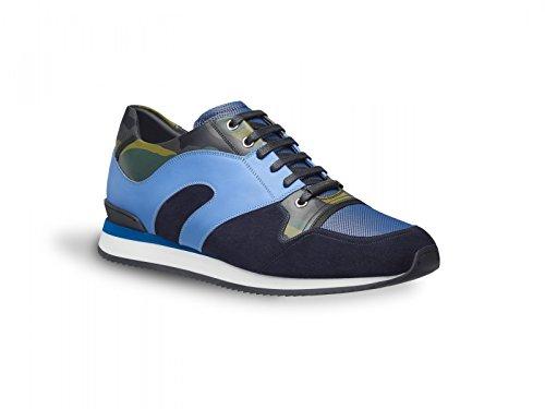 Sneakers Dior uomo in pelle di vitello camouflage e blu - Codice modello: 3SN090XDE H565 - Taglia: 39 EU