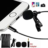 Lavalier Lapel Microphone Professional Grade Clip-on Omnidirectional Condenser Mic for iPhone X 8 7 Plus 6 6s 5 5s / iOS/Android | Mini Lavalier Mic with Clip (Color: Black)
