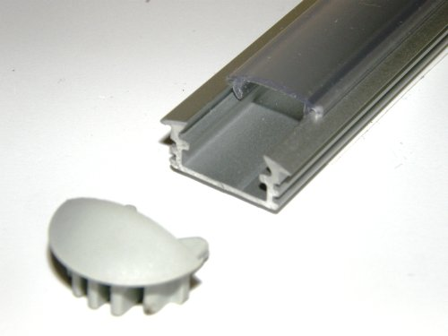 Aluminium Profile P1 For Led Strips / Tapes; Recessed, Anodized Silver Finish With Transparent Cover And Two End Caps; 1M / 100Cm