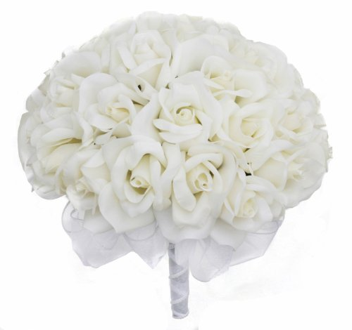 41494WpxoqL Ivory Silk Rose Hand Tie (3 Dozen Roses)   Wedding Bouquet