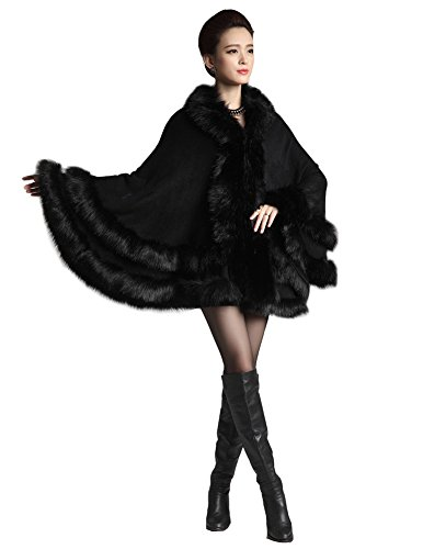 Kranda Women's Faux Fox Fur Trim Hooded Cape Wool Blend Cloak Coat (Free Size, Black) (Fur Hood Coat compare prices)