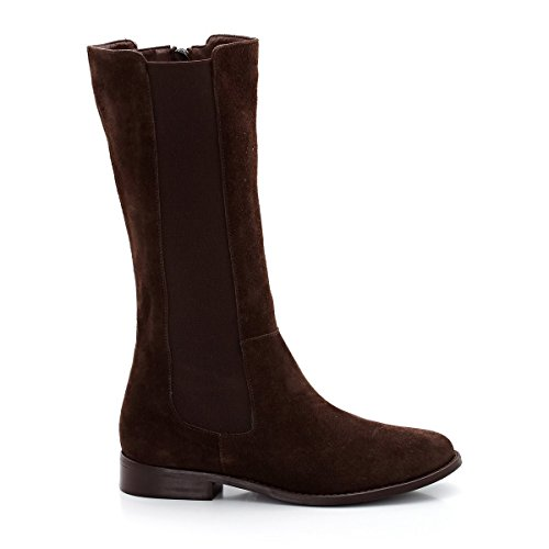 La Redoute Laura Clement Frau Suede Boots, Wide Calf Fitting Gre 38 Brown