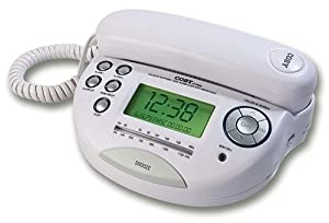 coby ct p650 phone with caller id and am fm dual alarm clock radio white corded. Black Bedroom Furniture Sets. Home Design Ideas