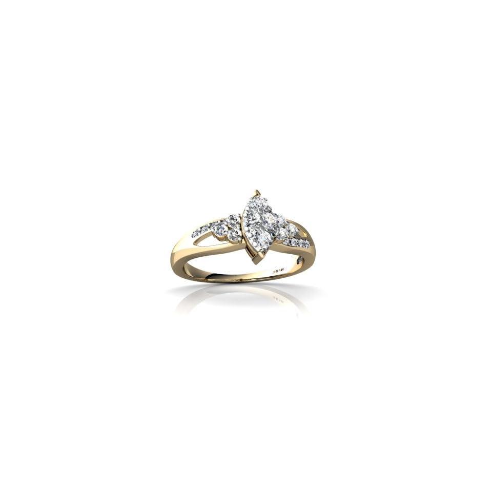 14K Yellow Gold White Diamond Antique Style Ring Size 8