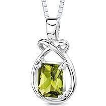 1.50 Carats Genuine Emerald Cut Peridot Sterling Silver Rhodium Nickel Finish Pendant Necklace