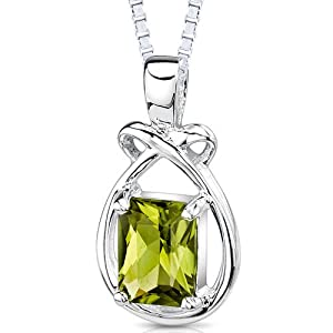 Revoni 925 Sterling Silver 1.50ct Genuine Emerald Cut Peridot Pendant with Necklace of 46cm