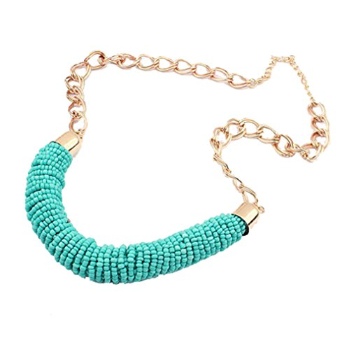 Christmas SWEETIME Women's Fashion Delicated Bead Strings U-Style Alloy Necklace (Blue)