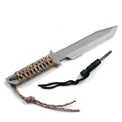 "ASR Outdoor 11"" Full Tang Camping Hunting Survival Serrated Knife & Fire Starter (4 Colors) (Desert Camo)"