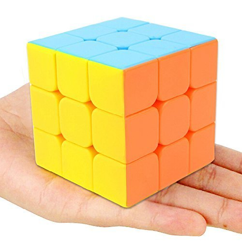 D-FantiX Yj Yulong Speed Cube 3x3 Stickerless Smooth Magic Cube with Free Stand Puzzle Cube for Kids
