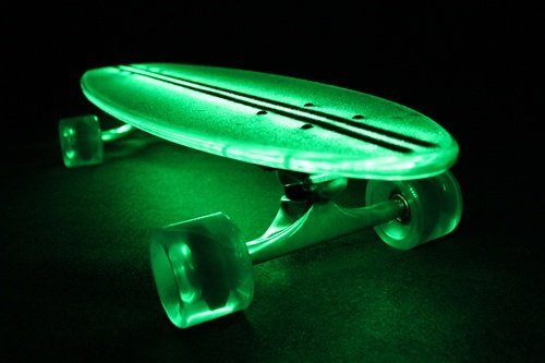 FlexDex Clear29LT-G 29 in. Polycarbonate Light Green Complete Skateboard