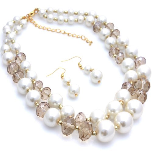 Multistrand Faux Ivory Pearl and Topaz Beaded 16 Inch Necklace Set