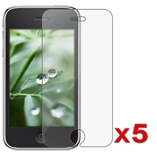 5-Pack Premium Reusable LCD Screen Protector with Lint Cleaning Cloth for Apple iPhone 3G 8GB 16GB [Accessory Export Packaging]