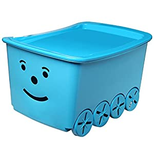 Amazon.com - Kids Blue Smiley Face Childrens Plastic Lidded Rolling