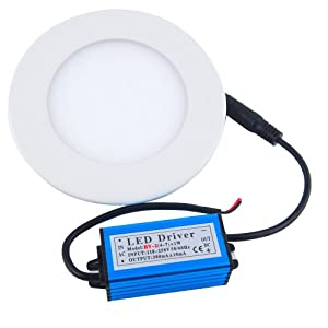 THG Super Bright 12W LED 6500K Cool White Round Recessed Ceiling Panel Flat Down Lights Bulb 1080LM LED Driver For Living Room Store Supermarket Office from Ceiling panel down light with LED driver clips