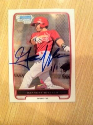 2012 Bowman Chrome Garrett Wittels 1/1 St. Louis Cardinals College Great FIU - Signed MLB Baseball Cards