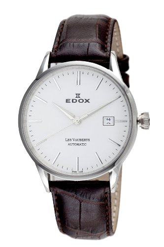 De cuero de los hombres 80081 3 AIN Edox de la fecha Les Vauberts reloj automático