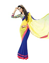 Dancing Girl Yellow Blue Chiffon Party Wear Saree With Blouse
