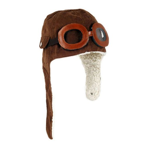 TANZKY® Adorable Pilot Aviator Warm Hat Brown Beanie Plush Cap Baby Toddler Protect