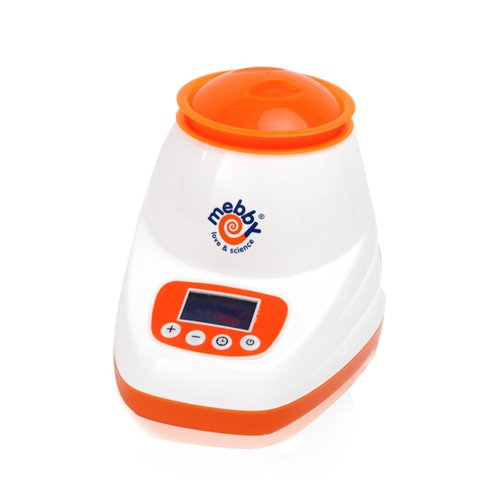Mebby Baby Bottle and Food Warmer for Home with LCD Screen (White and Orange)