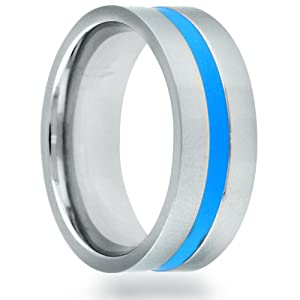 Titanium 8mm Flat Blue Grooved Center Line Polished Comfort Fit Wedding Band (Size 11)