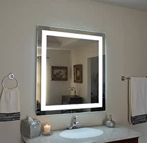 wall mounted lighted vanity mirror led mam83648 commercial grade. Black Bedroom Furniture Sets. Home Design Ideas