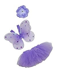 Baby Tutu Set with Fairy Wings and Headband in Purple (IM (6-12 months))