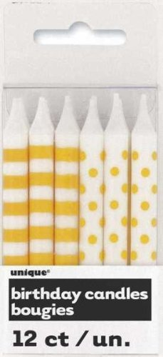 Yellow Stripe-dot Candles 12 Pack