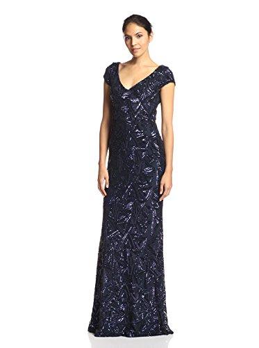 Langhem Women's Georgia Cap Sleeve Sequin Gown